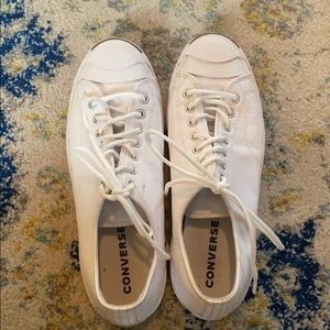Men's white and navy converse